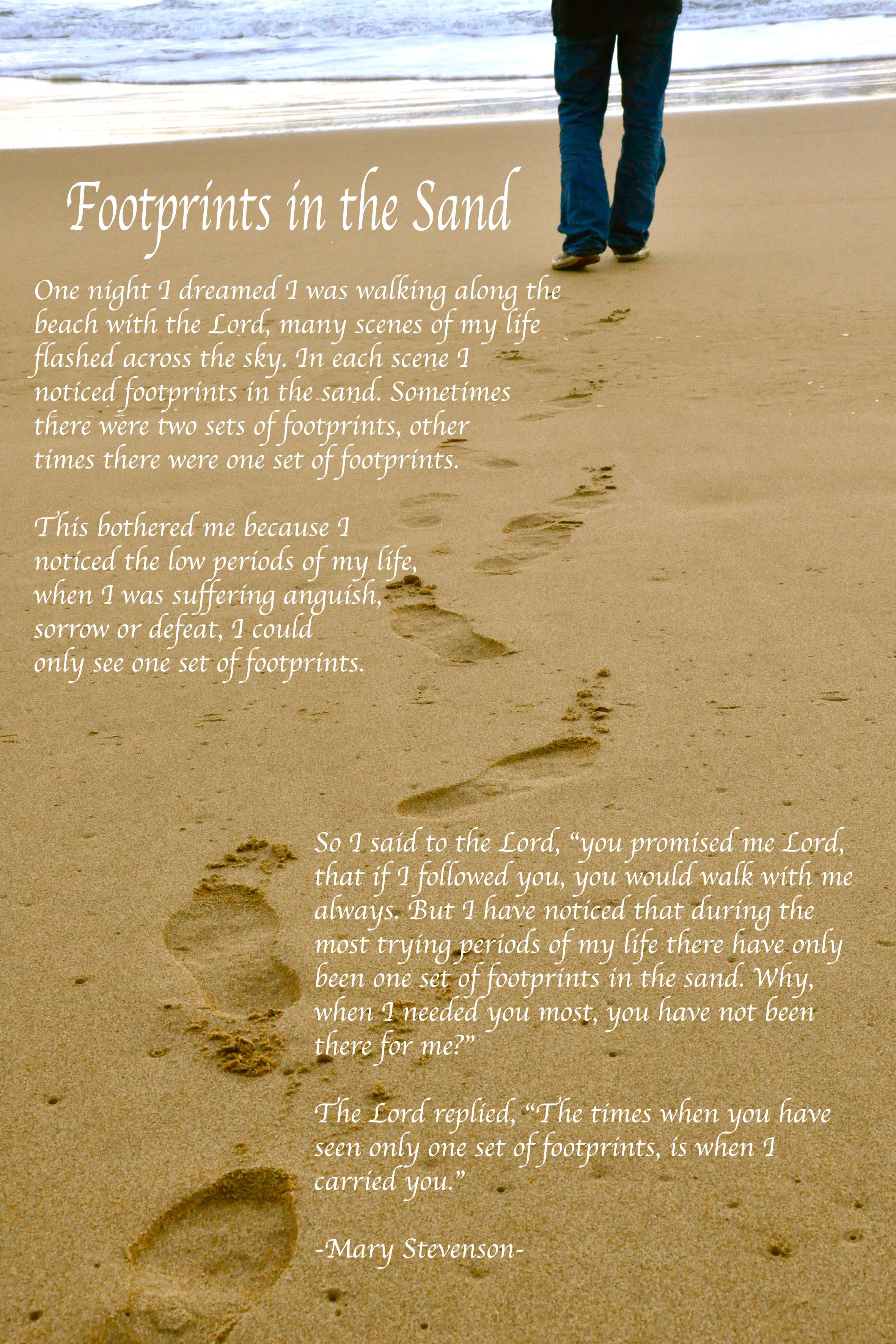 Footprints in the sand of Melbourne | Footprints, Poem and Amazing poems
