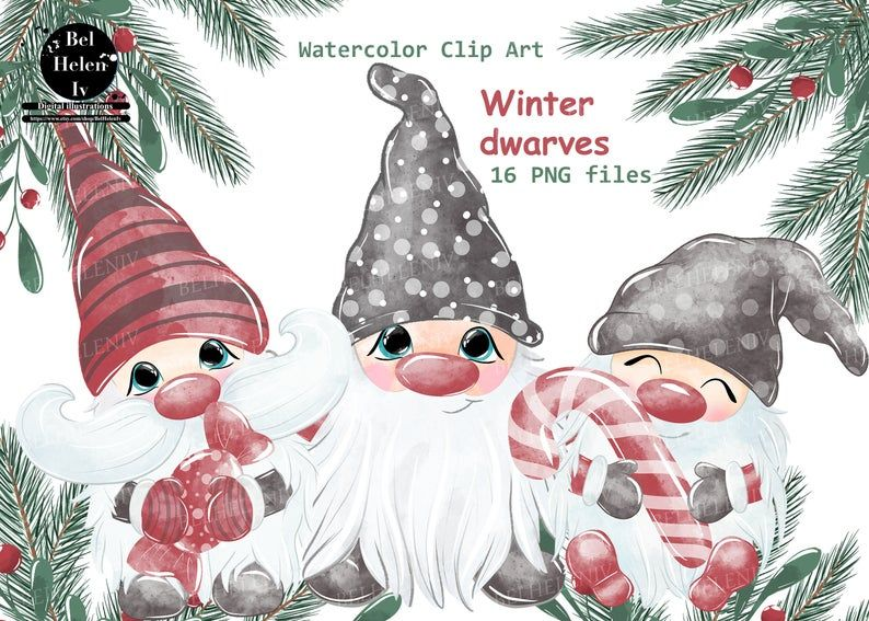 Christmas Gnomes Clipart Watercolor Gnomes Clipart Nordic Etsy Clip Art Fruits Drawing Christmas Tree Clipart
