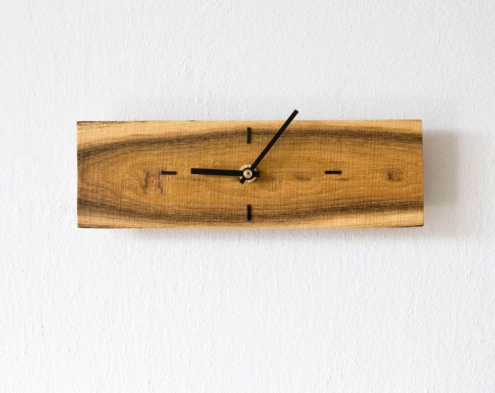 Small Wall Clock Rectangular Wood Wall Clock Modern Wall Clock Etsy Small Wall Clock Wall Clock Rectangular Wall Clock