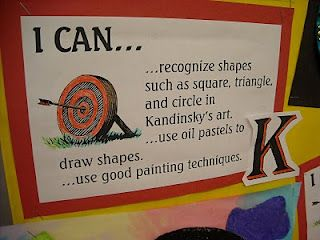 """Post """"I can"""" statements for each unit, along with an artist or student example. Students can review throughout the year."""