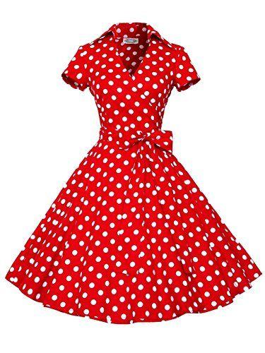 Vintage Womens Flared Polka Dot Print Cocktail Prom Dresses *** Visit the image link more details.