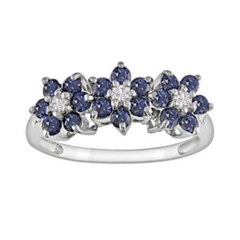10k White Gold Sapphire Diamond Accent Flower Ring White Gold Sapphire Pink Sapphire Diamond Ring Gold Sapphire Ring