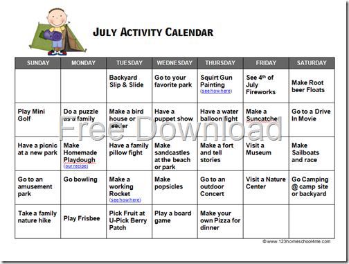 Calendar Activities For Kindergarten Students : Free july summer activity calendar
