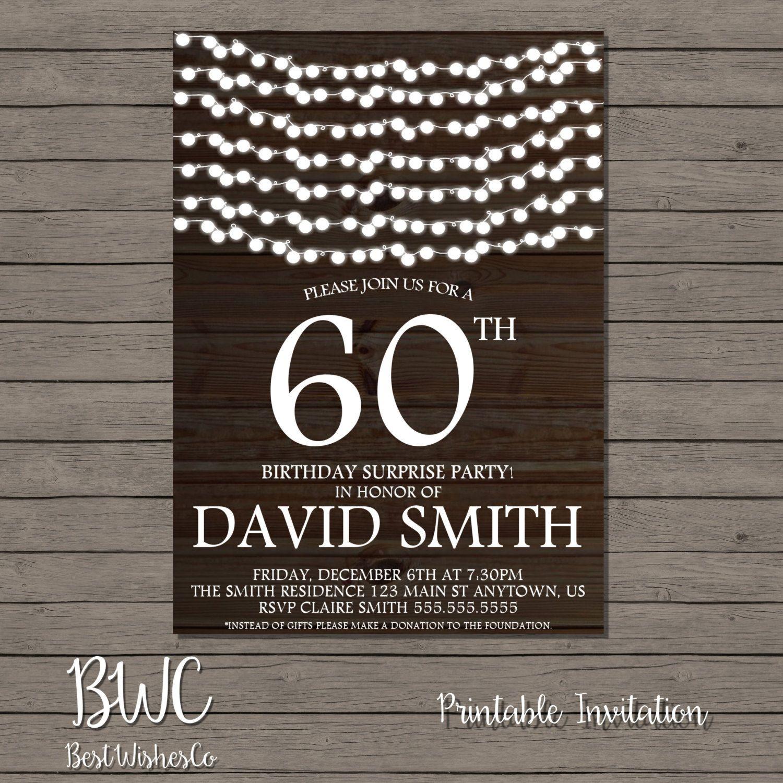 60th Birthday Invitation, Wood Printable Invitation, String Lights ...