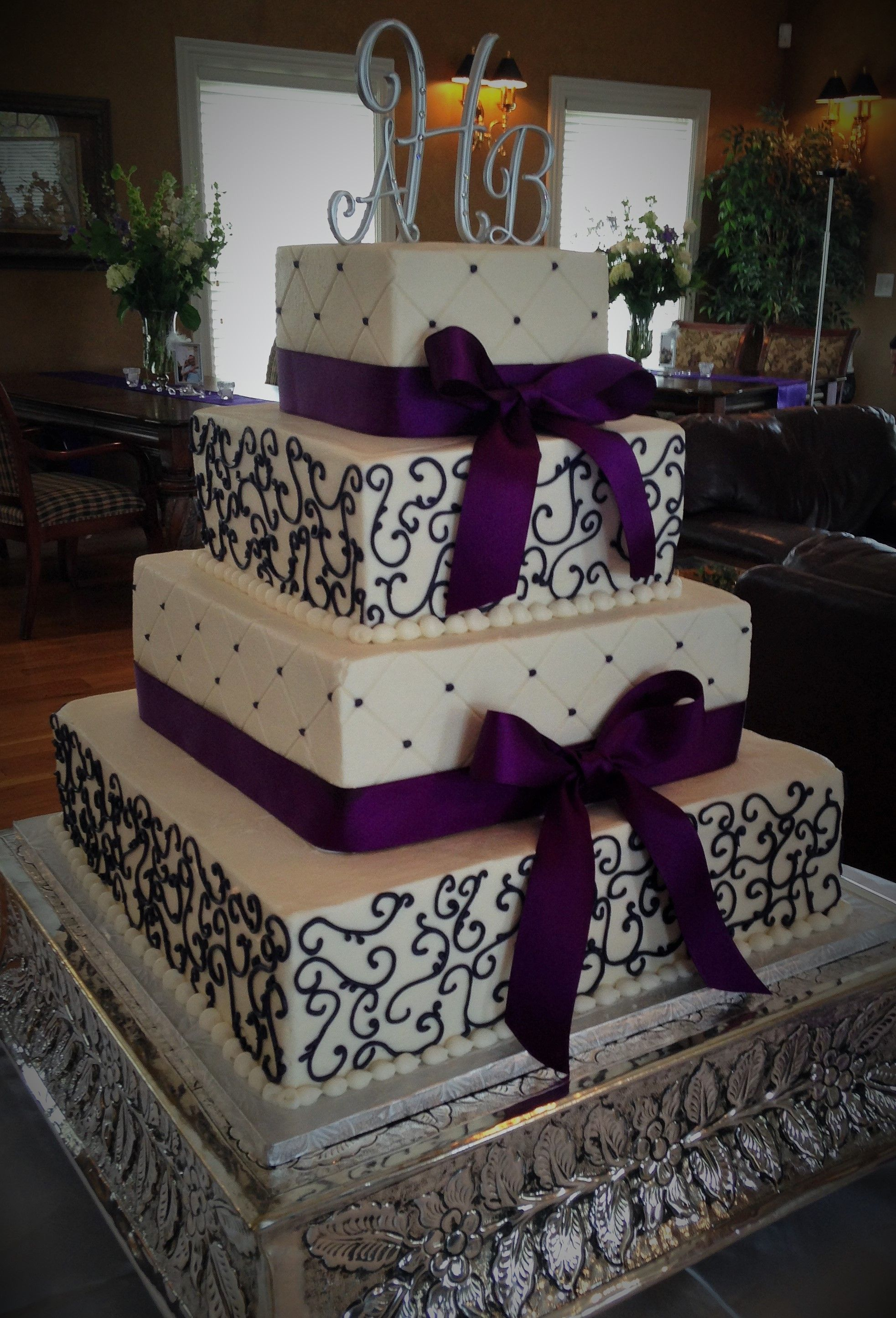 4Tier Square Wedding Cake wDeep Purple Details  Wedding
