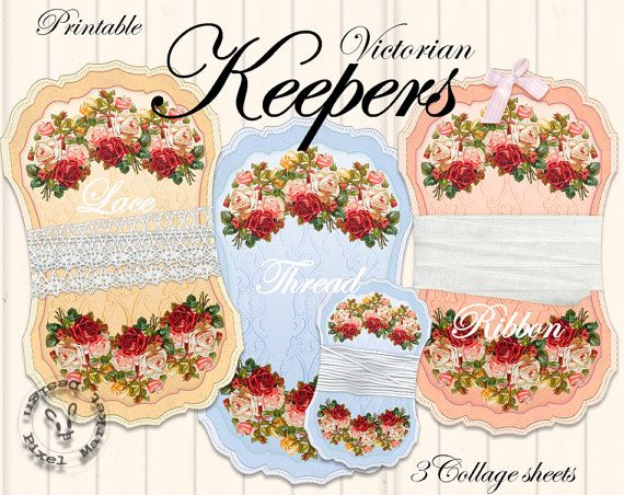 Set Of 3 Ribbon Holder Templates Printable Lace Keeper Cliparts