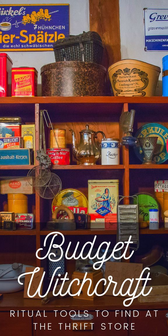 Budget witchcraft tips. Save money on your ritual tools by buying them at the thrift store. Don't forget to cleanse them of their residual energies! Being a pagan, wiccan, or witch doesn't have to break the bank. Decorate your witch altar, set up offering bowls, find cheap mason jars, mirrors for scrying, bells for sound cleansing, and more at your local thrift store. Be a frugal witch! #frugal #budget #witch #witchcraft #pagan #wicca #wiccan #paganism #frugalwitch #budgetwitch #occult #altar