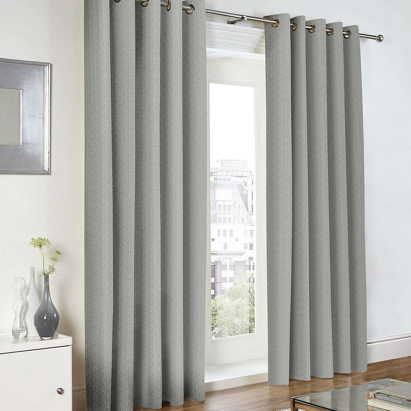 Baxter Grey Lined Eyelet Curtains Dunelm Curtains S