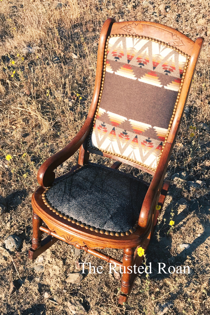 Pendleton upholstered chair cowhide upholstered chair rocking chair western furniture western decor southwestern furniture custom upholstery