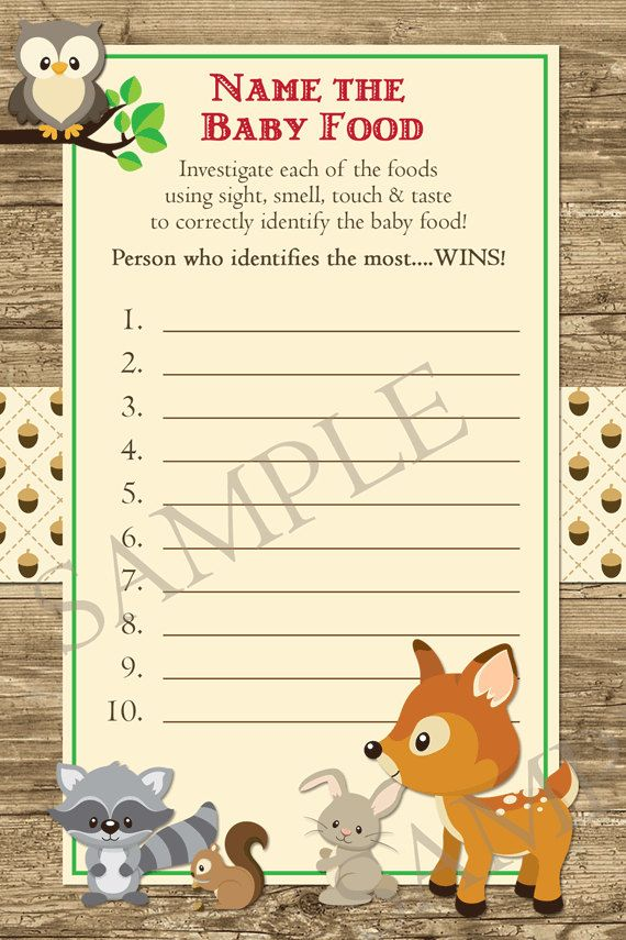 Woodland Baby Shower Game, Name That Baby Food Game, Woodland Animals Baby  Shower, Forest Friends Baby Shower Game, Instant Download
