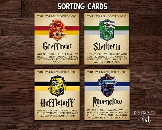 Harry Potter Hogwarts Houses Sorting Cards Instant Download This