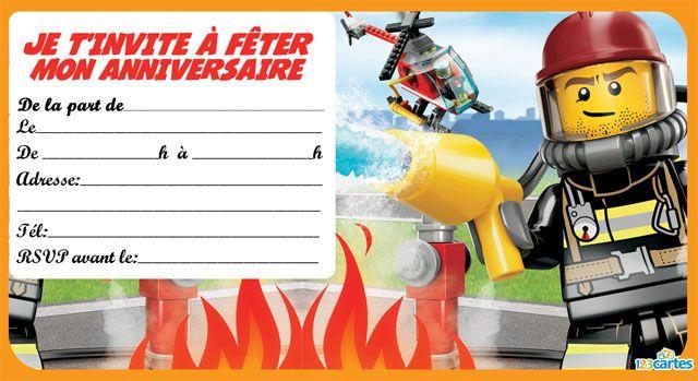 4 invitations anniversaire lego the