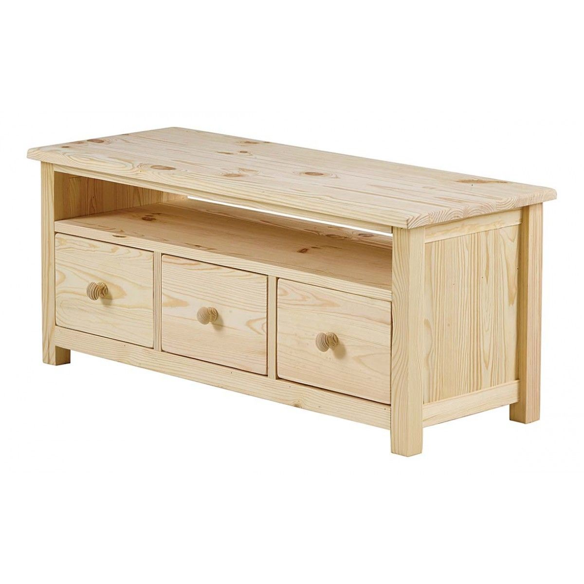 Table Basse Pin Massif Brut 3 Tiroirs 1 Niche Matendance  # Meuble Tv En Pin Couleur Miel