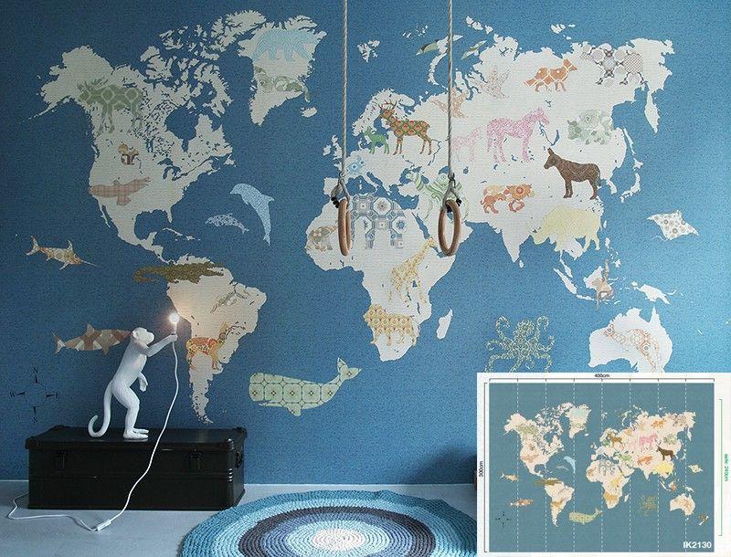 Behang xxl paneel wereldkaart kinderkamer jongenskamer for Behang kinderkamer