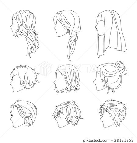 Hairstyle Side View Man And Woman Hair Drawing Set How To Draw Hair Hair Sketch Hair Illustration