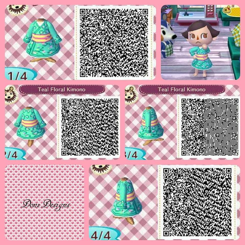 Teal Floral Kimono By Donzdesigns Animal Crossing Qr Animal