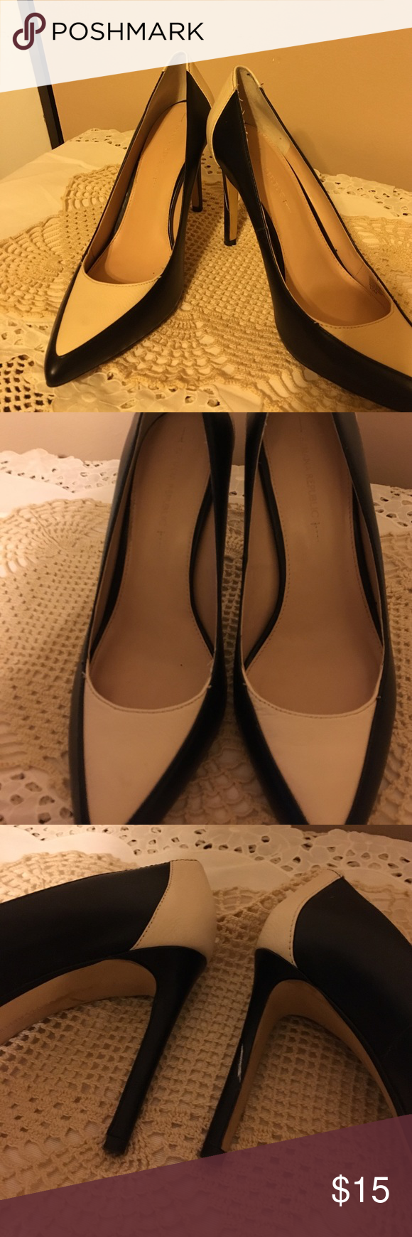 Blk and cream leather shoes Lightly used Banana Republic heels. Black and ivory leather .  Lightly used mark on one heel see pic Banana Republic Shoes Heels