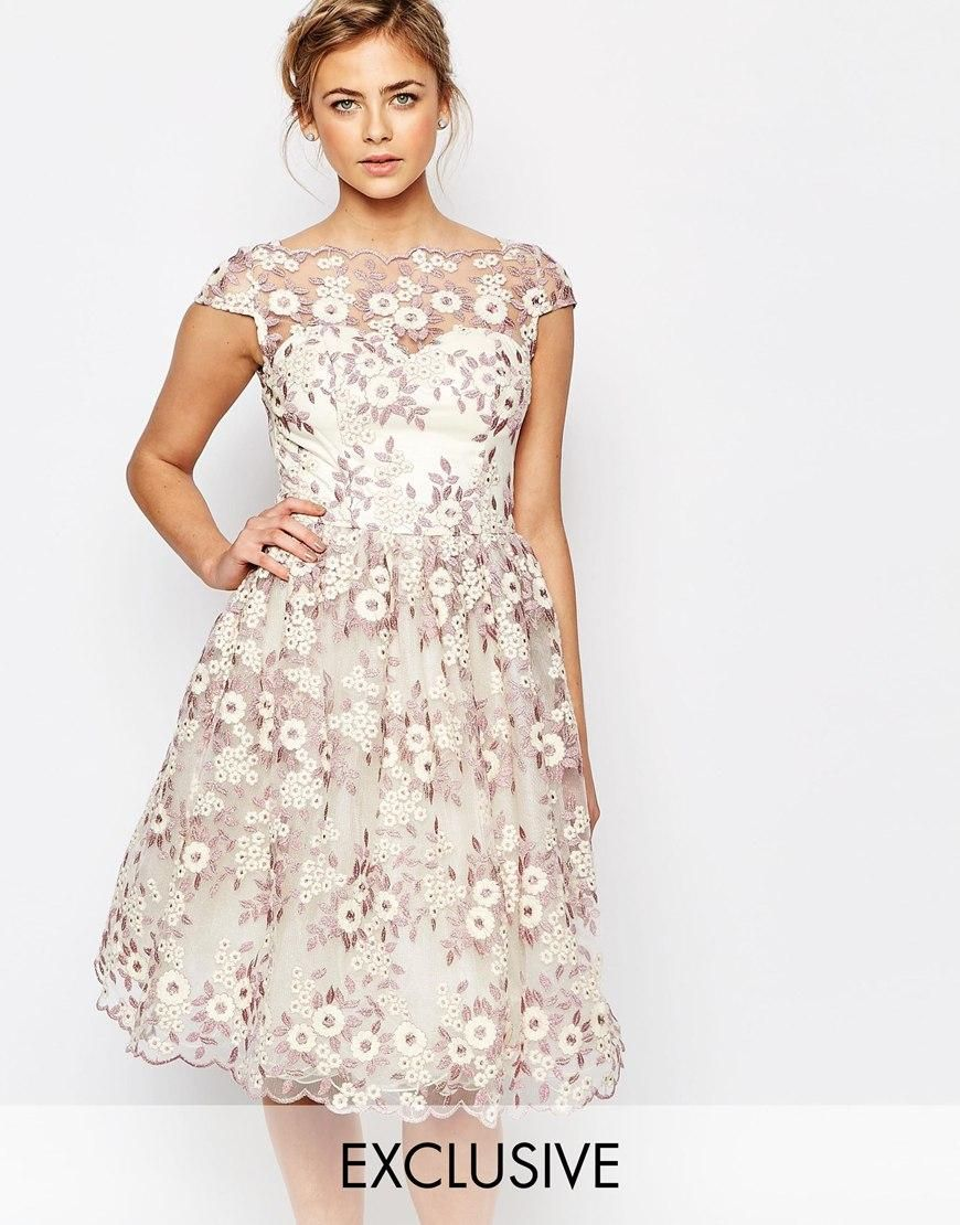 Chi chi london chi chi london premium floral lace midi dress with