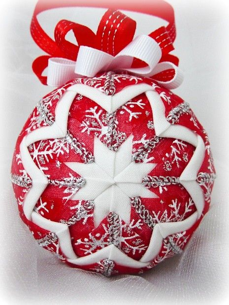 Quilted Christmas Tree Ornaments On Styrofoam Balls Google Search