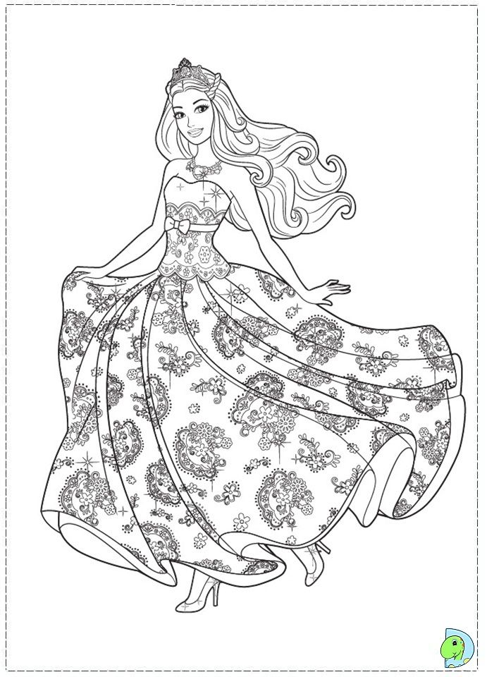 Coloring Page Child Princess Barbie The Princess And The