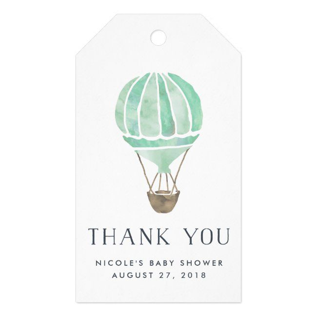 Hot Air Balloon Baby Shower Favor Tags | Mint | Zazzle.com