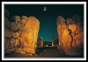 "Hattusa (Ḫa-at-tu-ša, read ""Ḫattuša"") was the capital of the Hittite Empire in the late Bronze Age. It was found to be located near modern Boğazkale, Turkey, within the great loop of the Kızılırmak River (Hittite: Marashantiya; Greek: Halys). Before 2000 BCE, a settlement of the apparently indigenous Hatti people was established on sites that had been occupied even earlier and referred to the site as Hattush. The Hattians built their initial settlement on the high ridge of Büyükkale."
