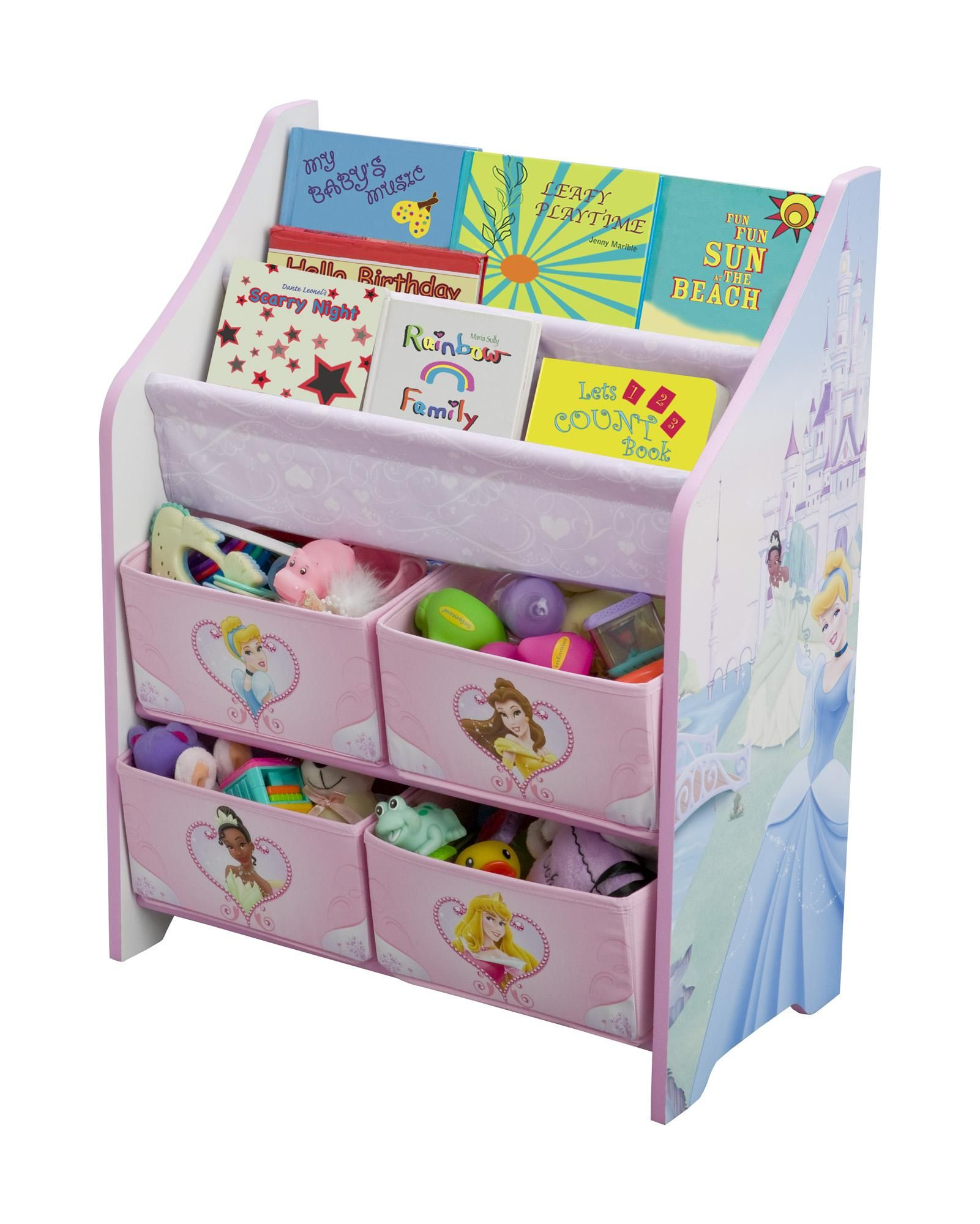 Disney Princess Book And Toy Organizer Toy Organization Disney Princess Books Kids Storage