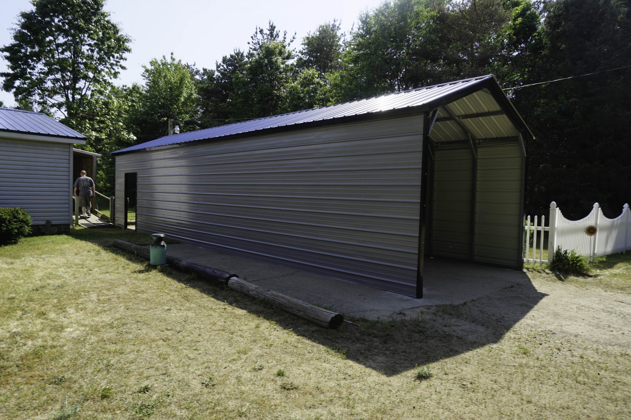 Rv Metal Shelter In Mount Pleasant Michigan Blue Roof Steel Carports Metal Roof
