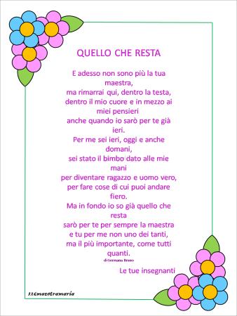 Biglietti Per Alunni E Maestre Per La Fine Dell Anno Scolastico Filastrocche Poesia Scuola