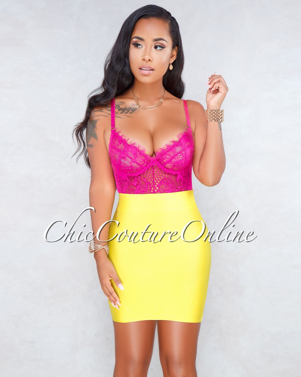 Chic Couture Online - Audria Hot Pink Sheer Lace Bodysuit 16d3f1cfd