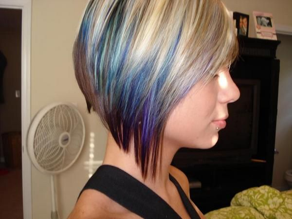 Purple And Blue Tips And Highlights Like The Concept Of Layering In The Color Peekaboo Hair Blonde And Blue Hair Hair