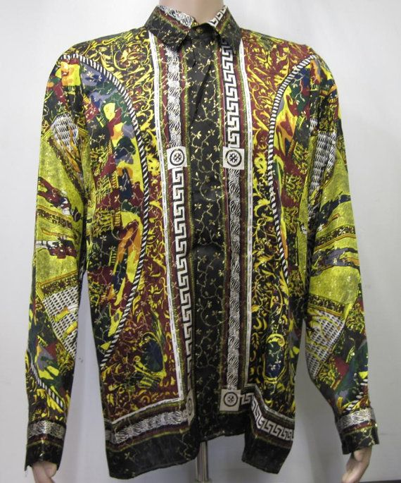 0263289b Vintage 90's Baroque style Silk Shirt by silvaleathercrafters, $75.00