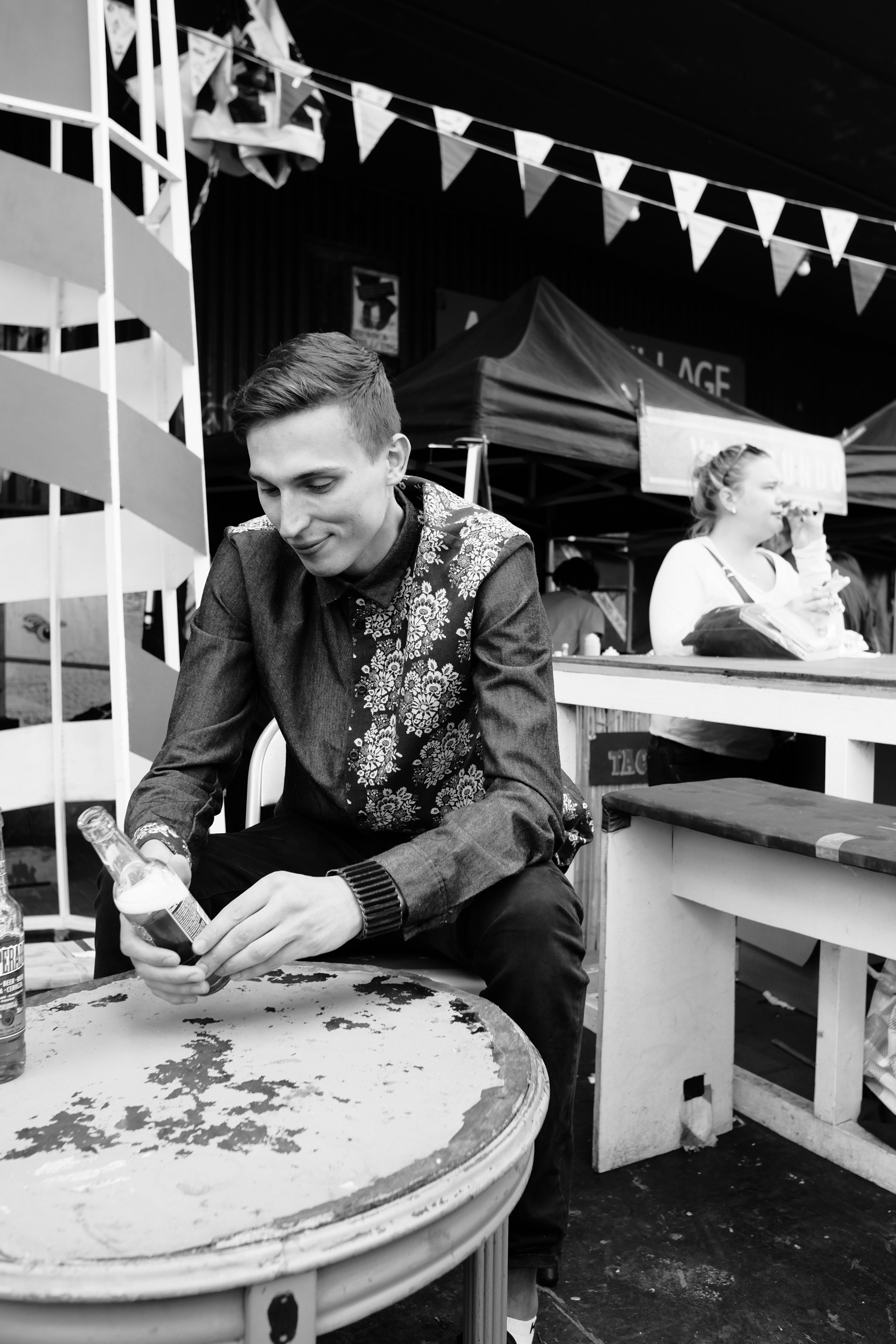 Meet Ginny Quid. A founder of THROWN community which promotes underground electronic music in London.  Being caught on the Portobello Road market, he's wearing FOMI brown suede bracelet that once used to be a brown leather biker jacket.  Many thanks to photographer Innocent Adriko. Full story: https://www.facebook.com/KarolinaFomi/photos/a.1045200062211451.1073741858.664808480250613/1045200135544777/?type=3&theater
