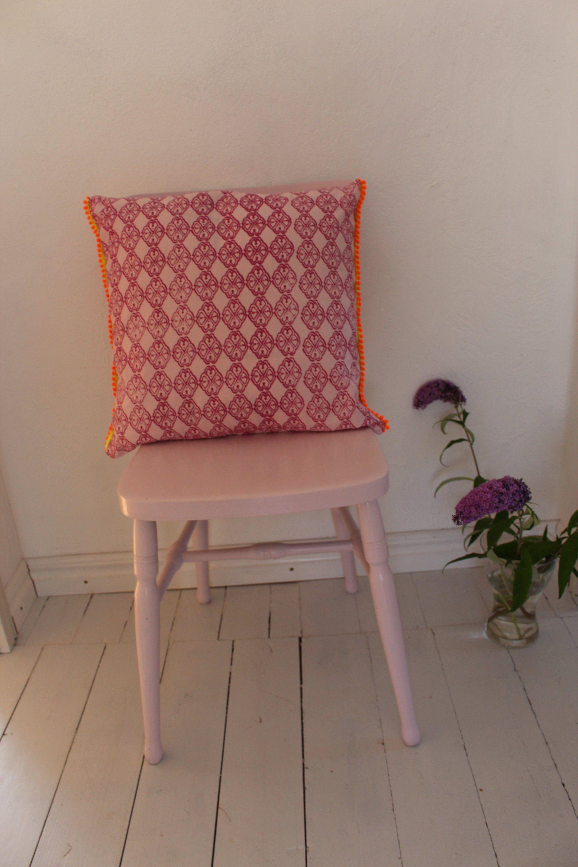Kissen Kissenhulle 50x50 Cm Mit Pompombordure Landhaus Rosa