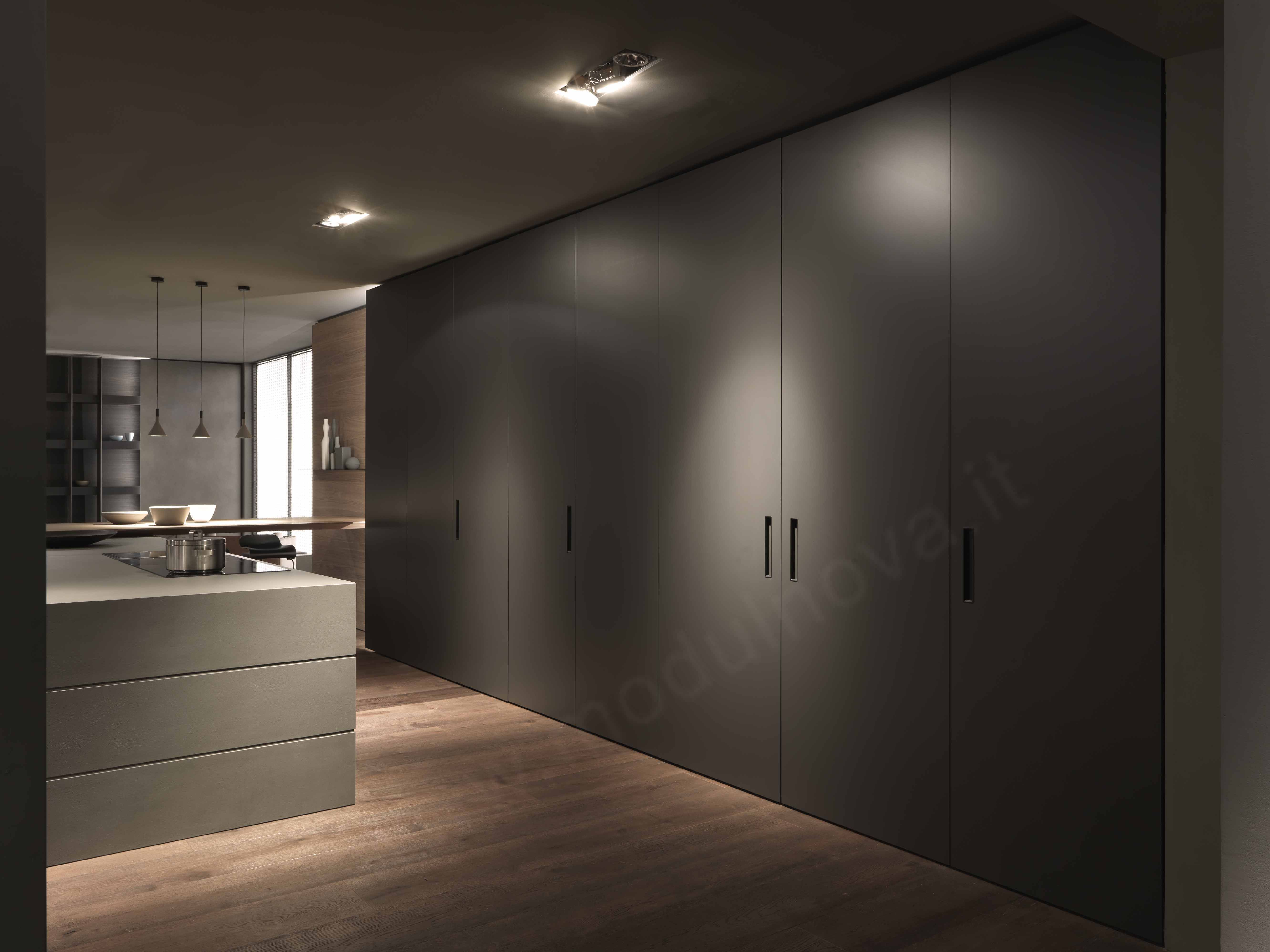 Tall Units Cabinets With Fully Retractable Doors Modern Kitchen Design Kitchen Inspiration Design Kitchen Cabinets And Countertops