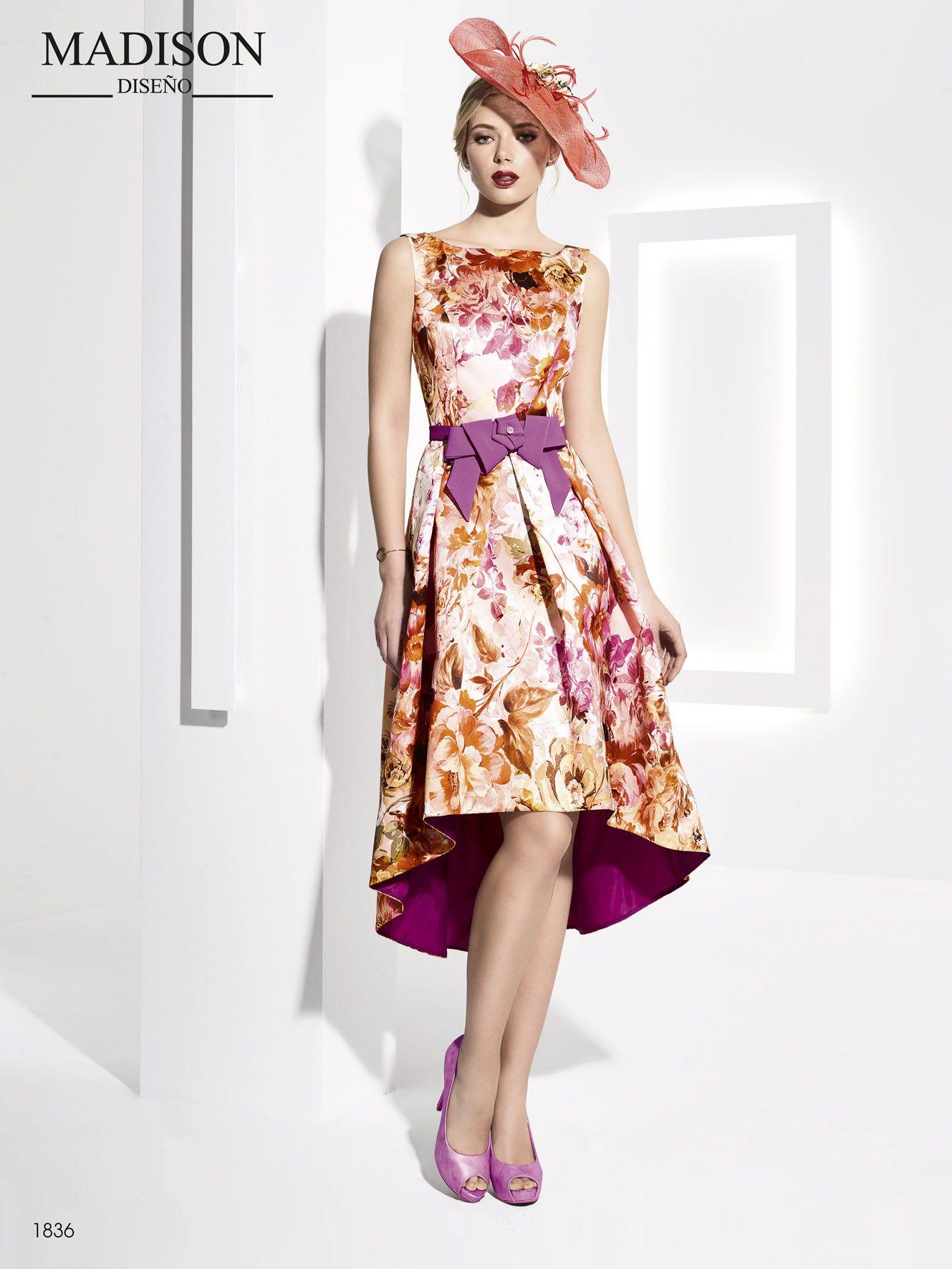 67fe00b491 El mikado estampado de flores otorga una nota de frescura y jovialidad a  este vestido  Madison con favorecedor corte evasé.  vestidodefiesta   fashion  moda ...
