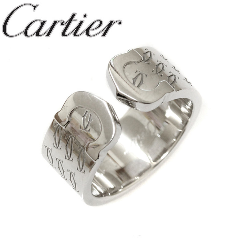 CARTIER 18K White Gold Double C Monogram Ring Us Size 5.25