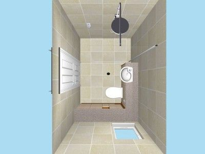 A Wet Room Plan In 3D. Small Bathroom ...