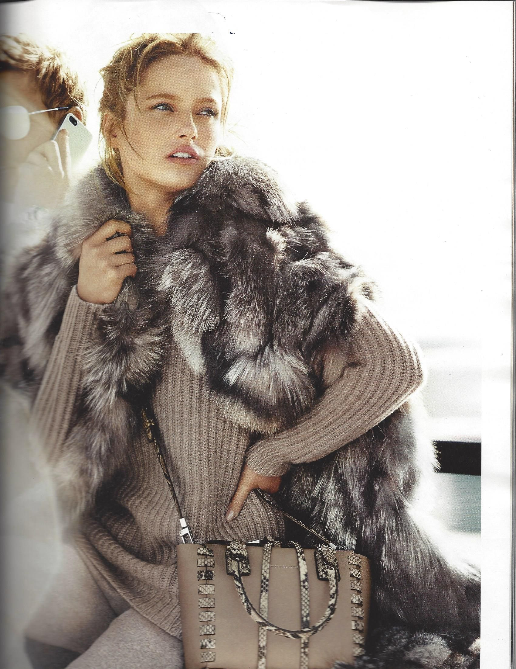 W magazine. September issue 2014. Michael Kors fox patchwork vest.