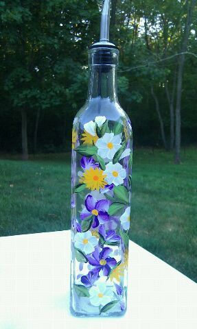 Hand Painted Floral Olive Oil Bottle By Paletteartworks On Etsy 27 00 Painting Glassware Wine Bottle Vases Glass Painting