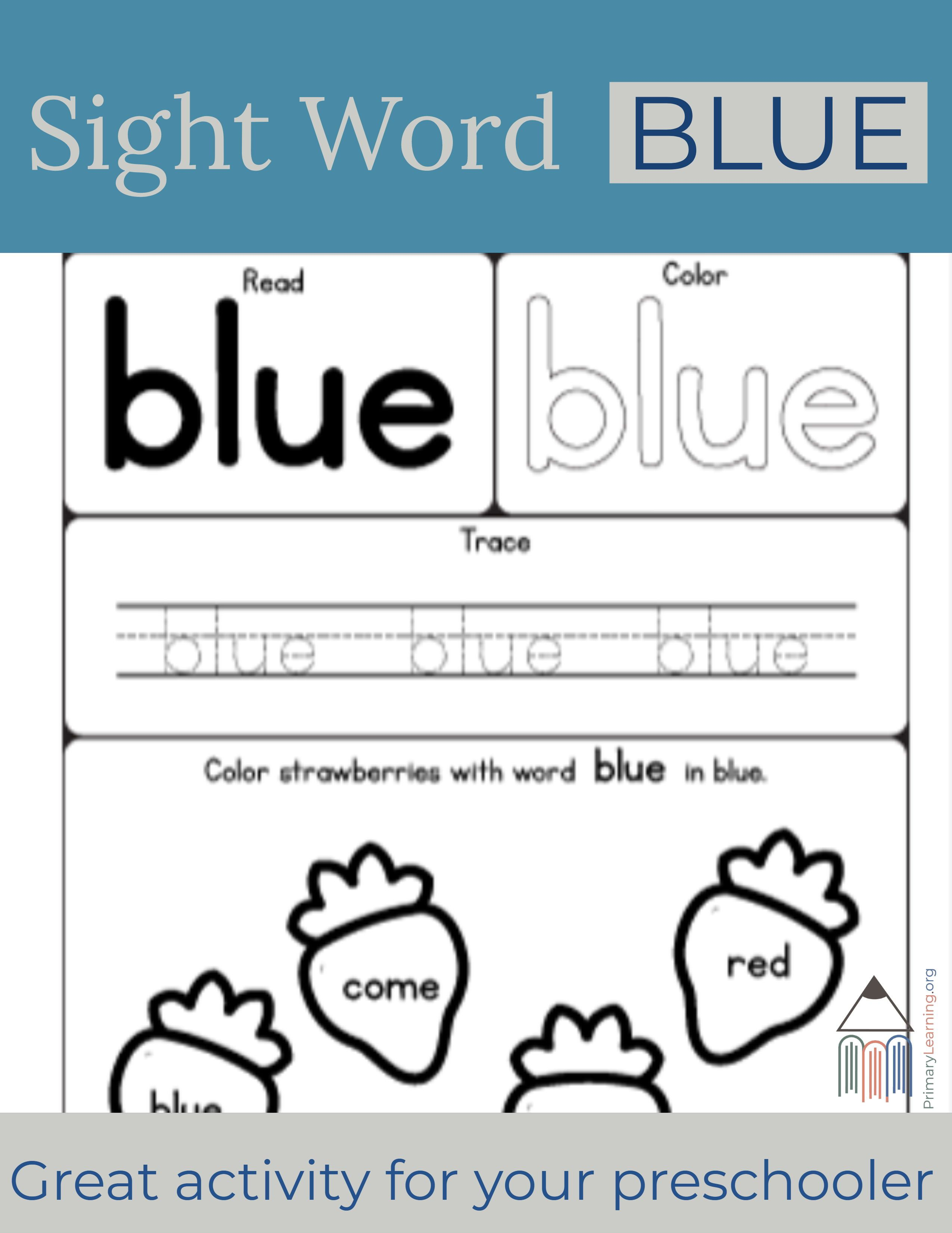Sight Word Blue Worksheet With Images