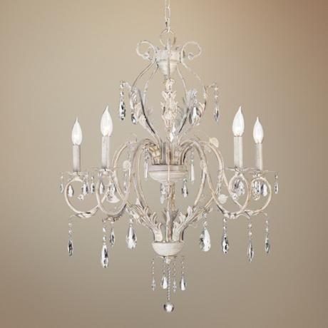 Kathy Ireland Devon 5-Light Antique White Crystal Chandelier - thinking I  may want this - Kathy Ireland Devon 5-Light Antique White Crystal Chandelier Kathy