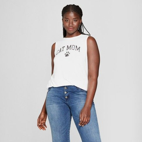 bb4f6fb83eee4 Women s Plus Size Mother s Day Cat Mom Graphic Tank Top - Modern Lux  (Juniors ) White   Target