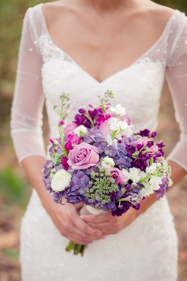 Plum And Lilac Vintage Winery Wedding Flower Bouquet Wedding