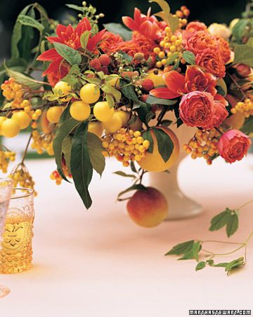 Fruit Decorations And Favors Orange Wedding Flowers Fall Flower Arrangements Flower Centerpieces