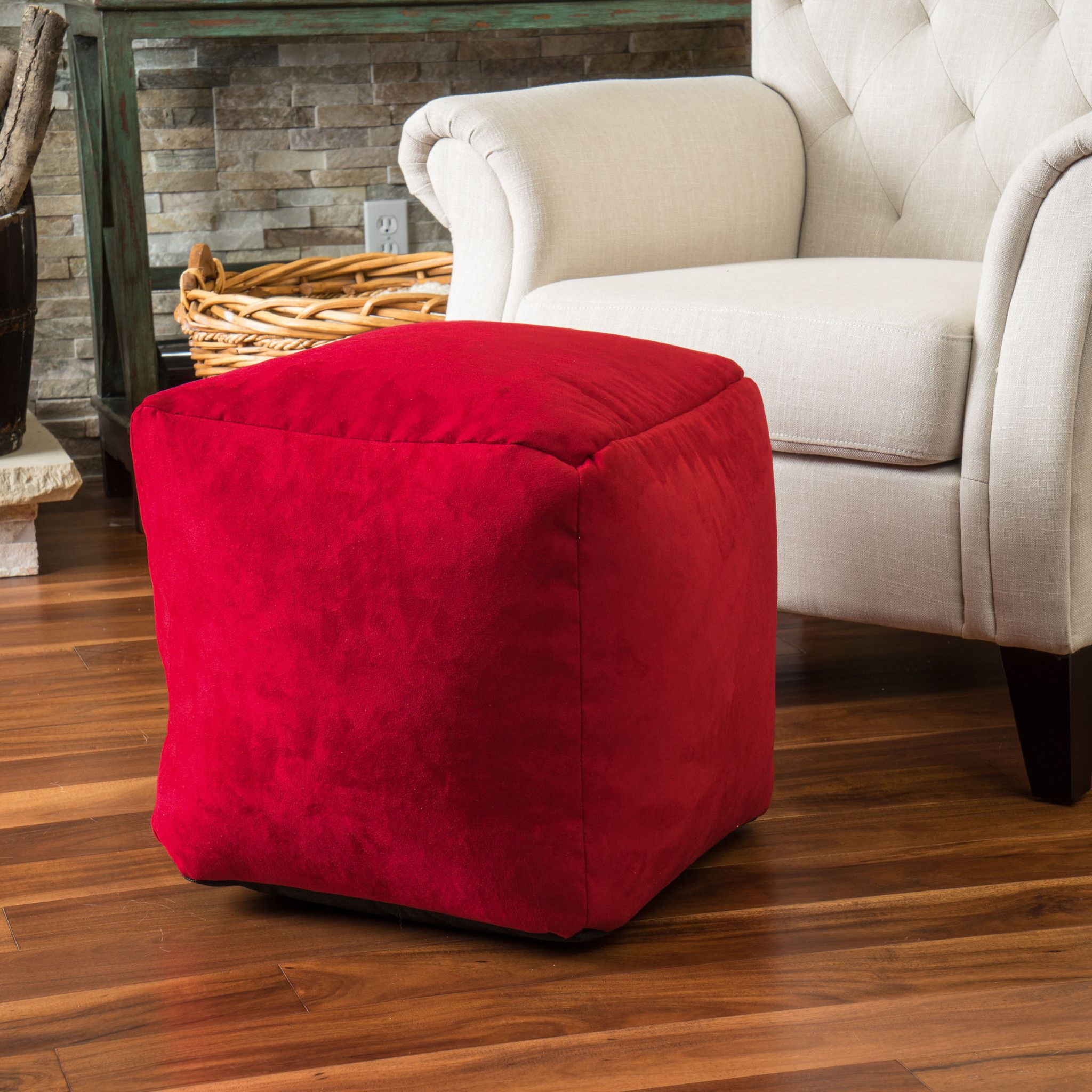 Roter Sitzsack Jamie Chinese Red Microfiber Square Kids Bean Bag Products
