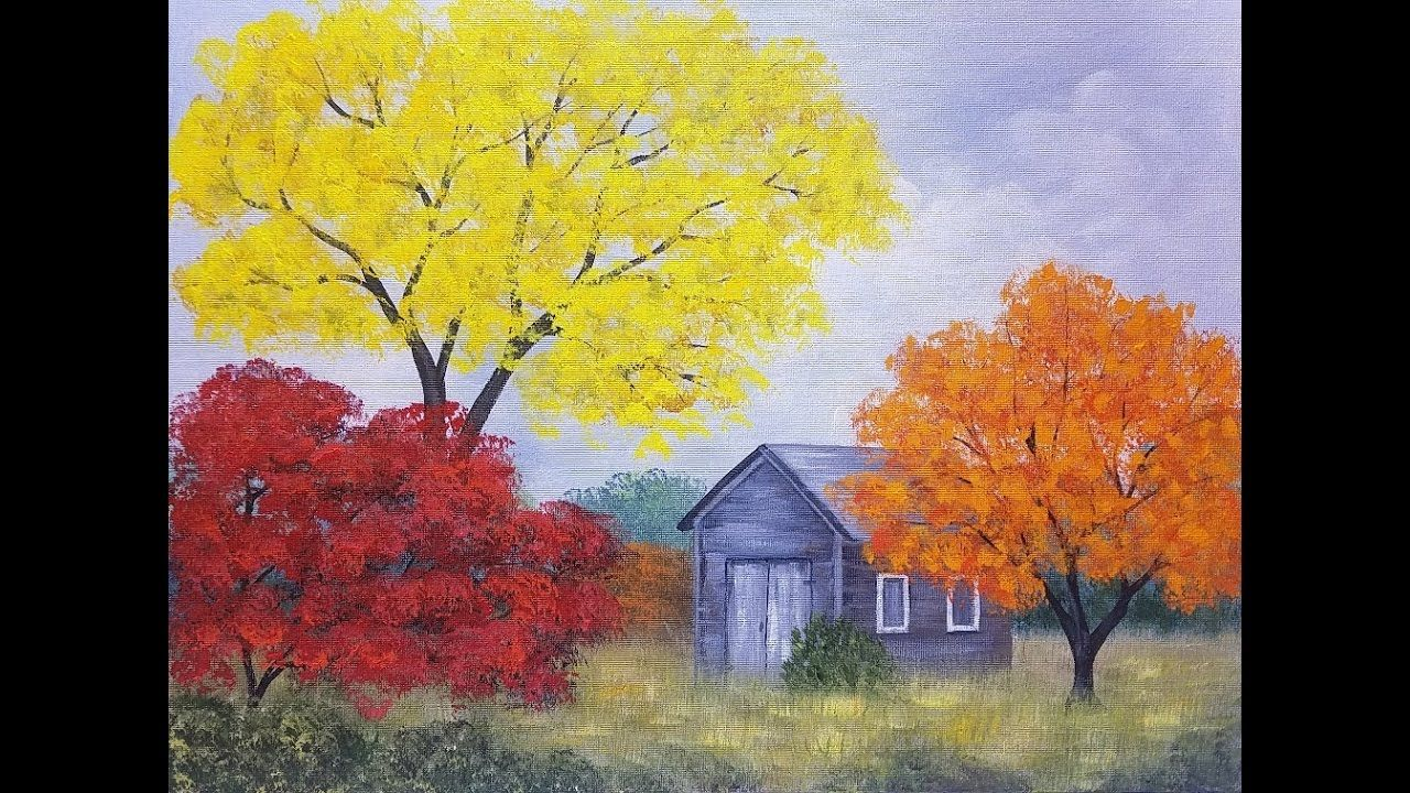 Easy Autumn Tree Landscape with Barn Acrylic Painting ...