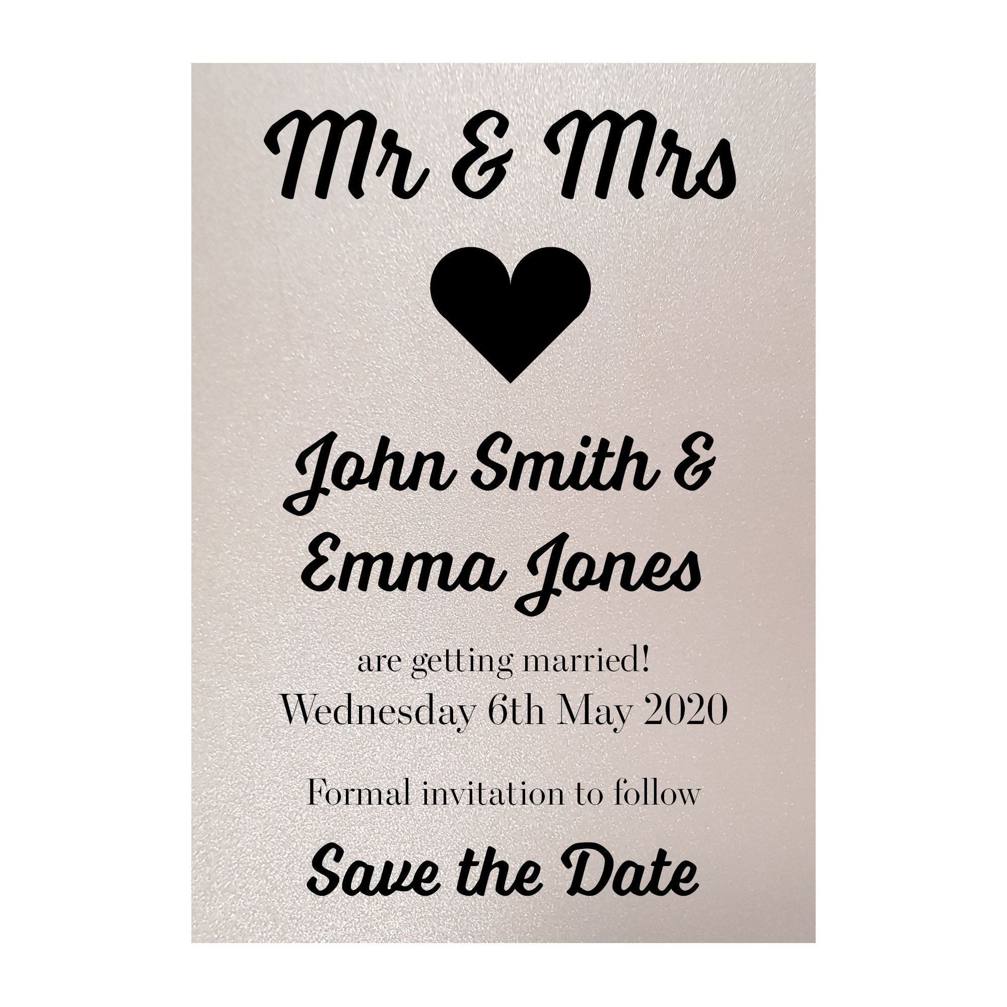 Photo of Glitter Pearl Polar Mr & Mrs Save the Date Cards