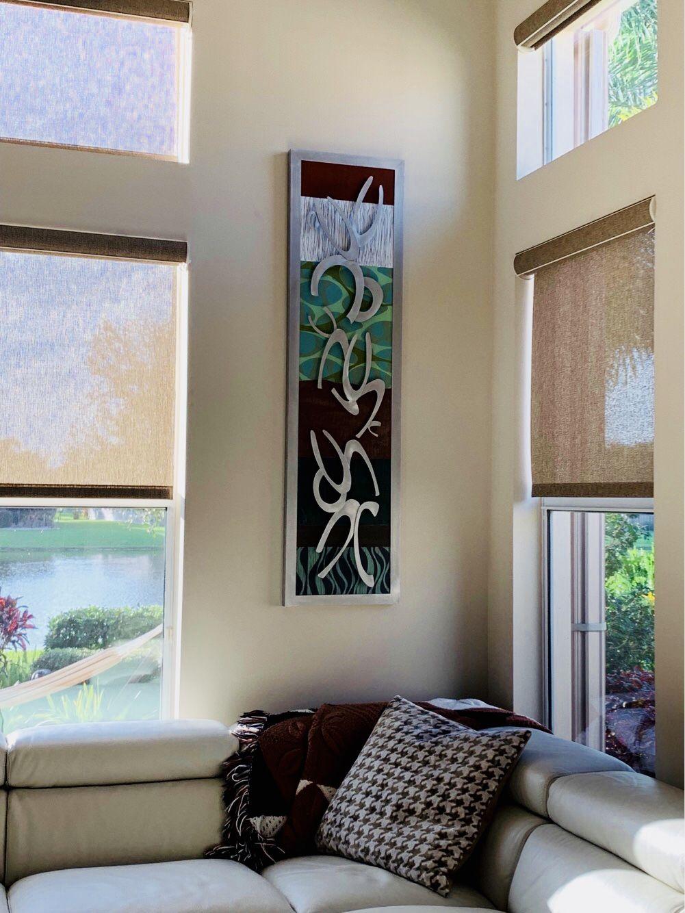 Metal Wall Art On A Narrow Wall With Tall Ceilings Metalwallart Longnarrowart Metalwalldecor C Modern Wall Sculptures Trendy Wall Art Interior Wall Design