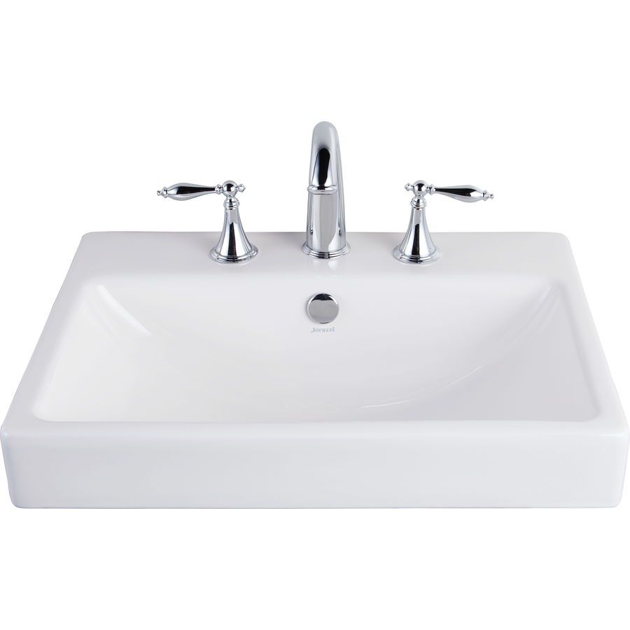 Jacuzzi Anna Farmhouse White Drop-in Rectangular Bathroom Sink ...